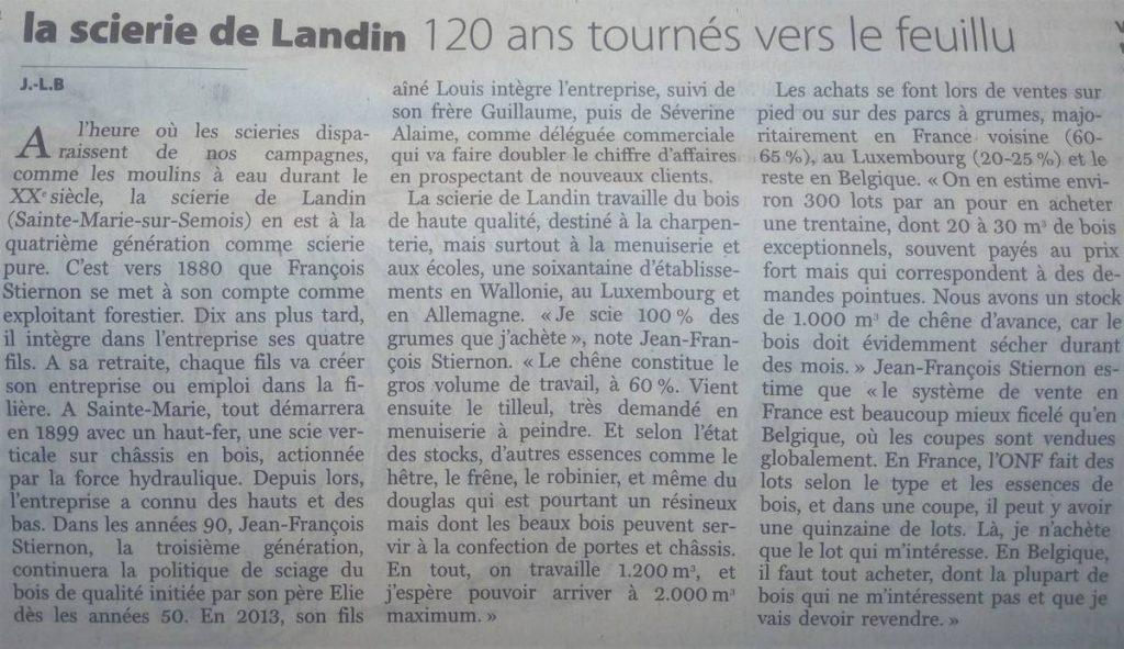 120 ans de la Scierie de Landin - Article publié le 30/10/2019 dans le journal Le Soir